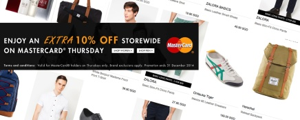 Enjoy Extra 10% Off on ZALORA with MasterCard Every Thursday!