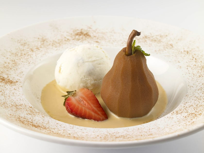 poached-pear-with--Butterscotch-Sauce